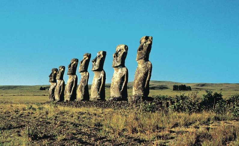 Easter Island belongs to Chile. It is known for its huge stone figures.