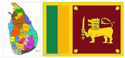 Sri Lanka Flag and Map