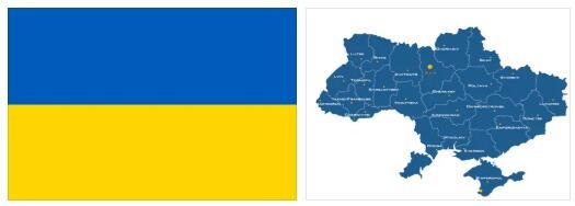 Ukraine Flag and Map