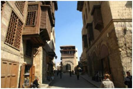 The buildings in the old Fatimid street El Muezz li Din Allah